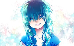Picture smile, tears, girl, blue hair, bangs