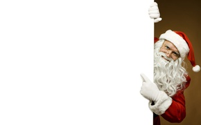 Picture white, red, face, canvas, pose, background, new year, Christmas, glasses, the old man, beard, Santa …