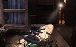 Wallpaper table, child, surprise, UFO