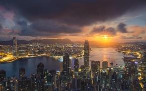 Picture China, Sunset, Hong Kong