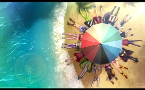 Wallpaper beach, water, umbrella, beach, k-on!, asu no yoichi, haruno, catch the worm, nagi, crossover, ure ...