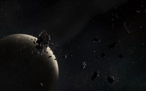 Picture the wreckage, stars, the moon, planet, asteroids