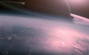 Wallpaper planet, QAuZ, art, Calm Sunrise, deviantART, sunrise, fiction, space