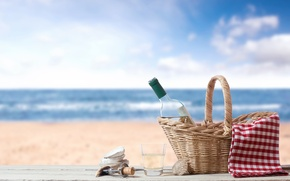 Picture sand, sea, beach, glass, basket, bottle, tube, shell, corkscrew, tablecloth