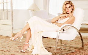 Picture look, girl, style, room, carpet, chair, actress, blonde, lamp, white dress, the room, sandals, Palace, …