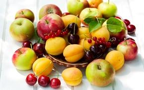Wallpaper berries, apples, fruit, currants, cherry, apricots, fruits, berries