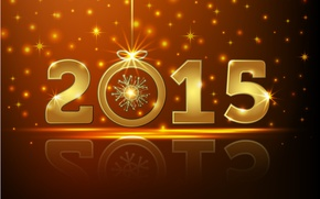 Wallpaper Happy, New Year, gold, New Year, 2015