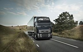 Picture road, field, track, truck, Volvo, 750, the truck, Trak, volvo fh 16