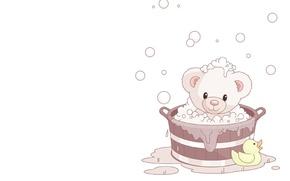 Picture foam, bubbles, background, mood, art, bear, bathed, children's