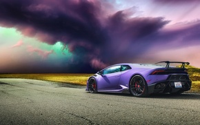 Picture road, storm, Lamborghini, hurricane, Lamborghini, Huracan, hurakan