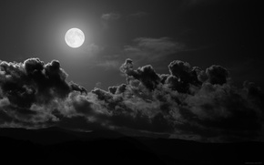 Wallpaper the moon, night, clouds