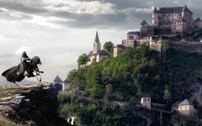 Picture castle, open, rocks, horse, collage, cross, rider