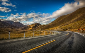 Picture road, clouds, mountains, the fence, New Zealand, Board, road, New Zealand, mountains, clouds, fence, Lindis …