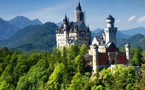 Picture castle, Germany, mountain, Neuschwanstein, Bavaria, Alps, Neuschwanstein Castle