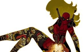 Picture background, silhouette, art, art, Deadpool, Deadpool.comics