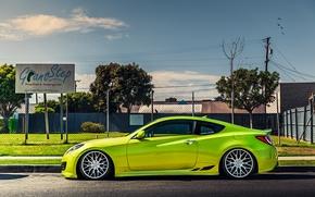 Picture green, green, coupe, tuning, hyundai, Hyundai, stance, genesis, Genesis