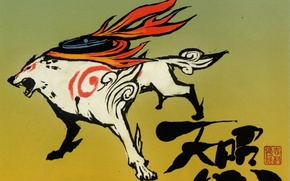 Picture flame, wolf, characters, grey background, deity, Okami, Amaterasu