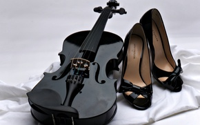 Wallpaper music, background, violin, strings, shoes, black, fabric, white, bows, black