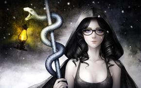 Picture look, girl, snake, art, amagi hana