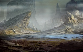 Picture fiction, rocks, people, valley, art, staff, cloudminedesign