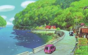 Picture road, sea, summer, trees, machine, posts, wire, home, roof, village, promenade, hayao Miyazaki, Ponyo, gake …
