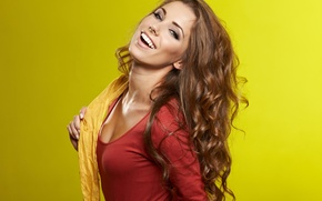 Picture girl, hair, scarf, brown hair, yellow background, curls, laughs