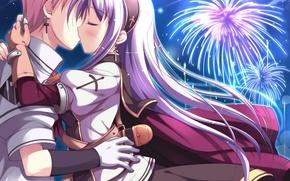 Picture love, Wallpaper, Anime, a couple, Shukufuku no Campanella