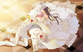 Picture blood, bouquet, floor, the bride, the groom, Wedding