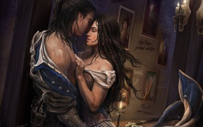 Picture girl, room, candles, art, hugs, pictures, guy, Assassins Creed 3