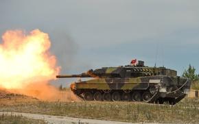 Picture fire, tank, polygon, combat, armor, Leopard 2