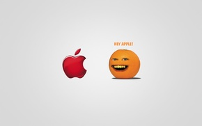 Picture the inscription, apple, Apple, the trick, The Annoying Orange, HEY APPLE