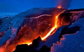 Picture TEMPERATURE, MOUNTAINS, SNOW, SLOPE, DIRECTION, The EVENING, MAGMA, STREAM, The VOLCANO, LAVA, IZVERZHENIE