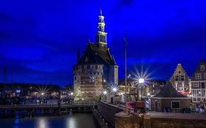 Picture night, lights, Netherlands, Horn