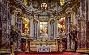 Picture Germany, Cathedral, stained glass, religion, the altar, Berlin