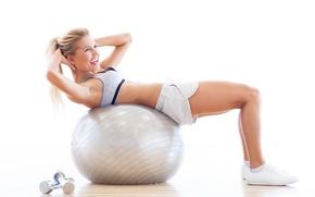 Wallpaper smile, women, training, exercises, gym balls