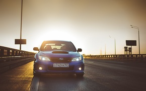 Picture light, background, Wallpaper, Subaru, Impreza, car, blue, the front