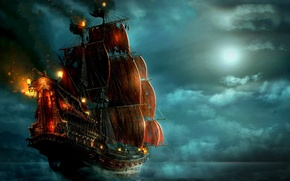 Picture sea, clouds, night, lights, the moon, ship, pirates