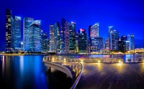 Picture building, Singapore, night city, skyscrapers, Singapore