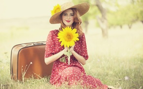 Picture look, nature, pose, smile, Girl, dress, red