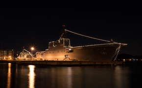 Picture night, lights, ship, port