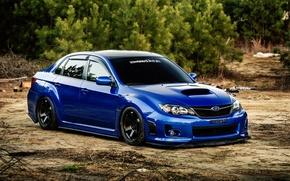 Picture Subaru, Impreza, WRX, blue, blue, Subaru, Impreza, STi, frontside