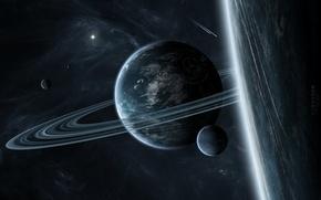 Picture planet, ring, satellites, star system, interstellar gas
