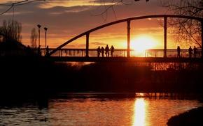 Picture the sun, sunset, bridge, people, river