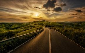 Picture road, grass, the sun, clouds, landscape, sign, Italy, grass, road, landscape, Italy, sign, clouds, sun
