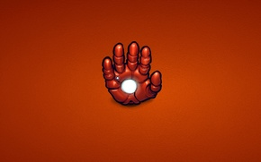 Wallpaper red, steel, hand, minimalism, iron man, marvel, comic, iron man