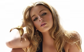 Picture girl, blonde, white background, Keeley Hazell