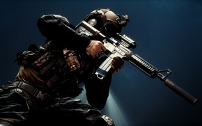 Picture weapons, background, soldiers, equipment, Battlefield 4, assault rifle