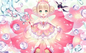 Picture bubbles, crown, Lotus, girl, rod, wings, Princess, sorceress, art, wasabi