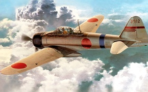 Picture figure, art, Japanese, carrier-based fighter, WW2, (Type 0), Mitsubishi A6M2 Reisen