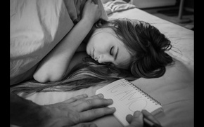 Picture girl, b/W, sleeping, photographer, Florent Bellurot, love note